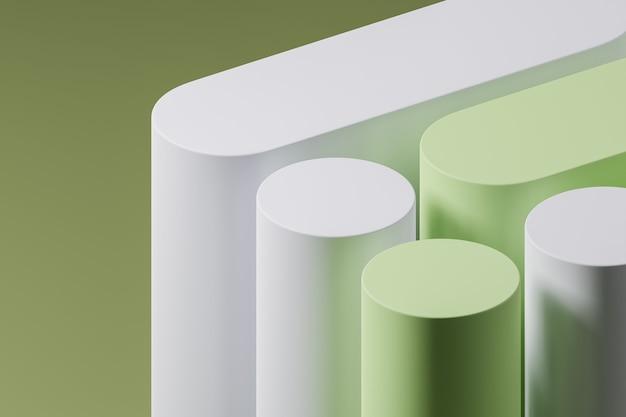 Fond pastel minimal pour la présentation du produit composé de podiums blancs et verts. illustration de rendu 3d.