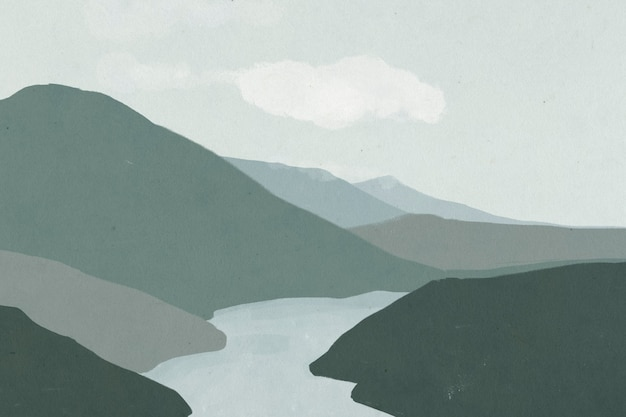 Fond de paysage de montagnes avec illustration de la rivière