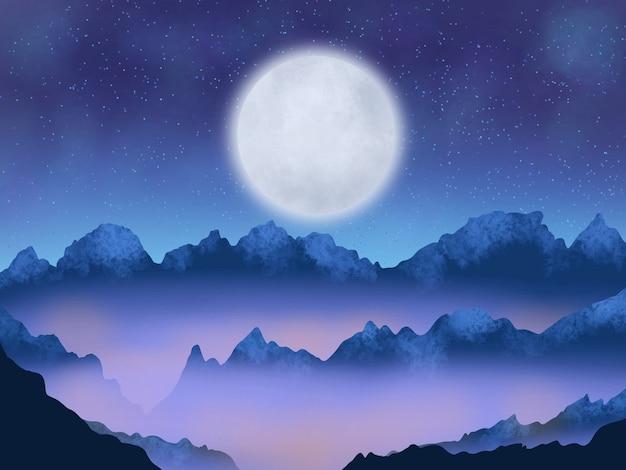Fond de paysage de nuit des collines avec la lune