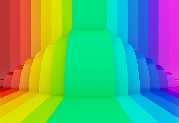 Fond de perspective abstrait arc-en-ciel coloré, 3d