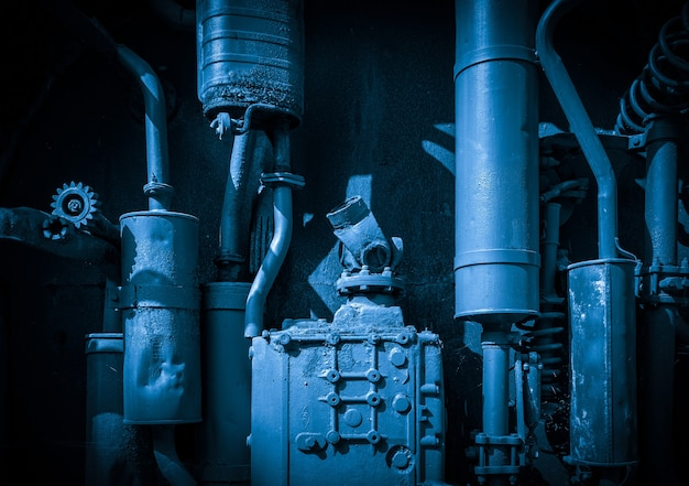 Fond de pièces de machines industrielles rouillées