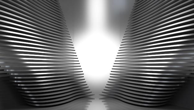 Fond de piédestal abstrait studio métallique