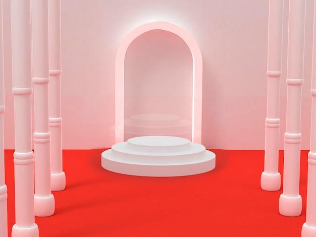 Fond de piliers de couloir blanc 3d