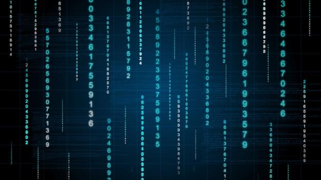 Fond de pluie binaire. données numériques sur plan