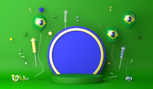 Fond de podium d'affichage de décoration de jour de l'indépendance du brésil avec la fusée de feu d'artifice de ballon