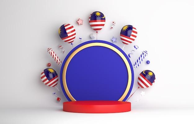 Fond de podium d'affichage de décoration de jour de l'indépendance de la malaisie avec le feu d'artifice de ballon