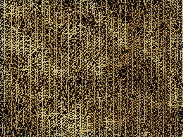 Fond de polygone bas or abstrait rendu 3d