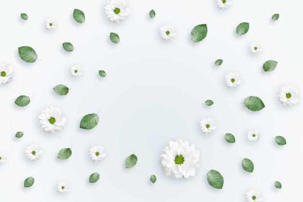 Fond de printemps, cadre de feuilles vertes sur un fond clair