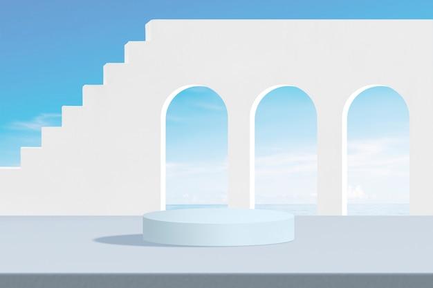 Fond de produit esthétique, ciel bleu et escaliers blancs
