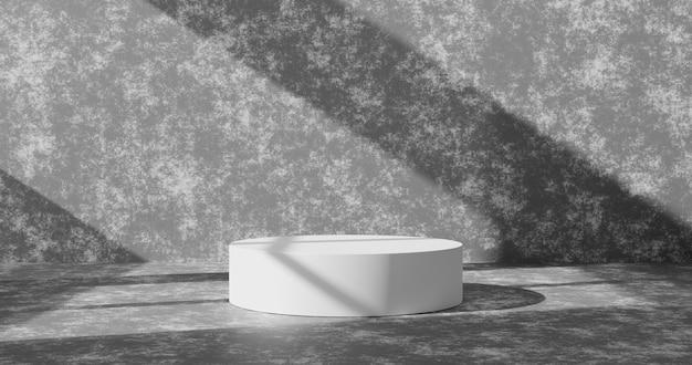 Fond de produit de mur de ciment vide ou fond de salle de grunge en béton sur piédestal de podium blanc sur un sol de studio intérieur vierge avec affichage à la maison et scène de papier peint abstrait léger. rendu 3d.