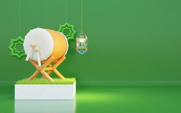 Fond de ramadan avec tambour de lit, lanterne en verre, herbe, fond vert, zone de texte de l'espace de copie, illustration 3d