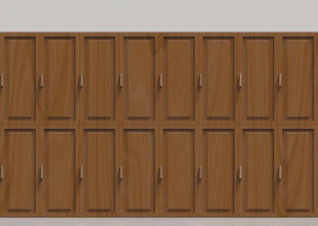 Fond de rangée de casiers en bois marron.