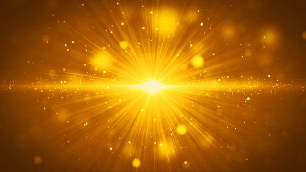 Fond de rayures et de particules de lumière dorée