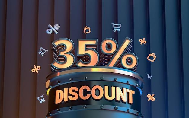 Fond de réduction de 35 pour cent d'offre spéciale pour le rendu 3d de l'affiche de promotion des médias sociaux