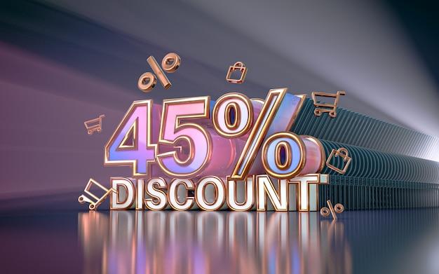 Fond de remise d'offre spéciale de 45 pour cent pour le rendu 3d de l'affiche de promotion des médias sociaux