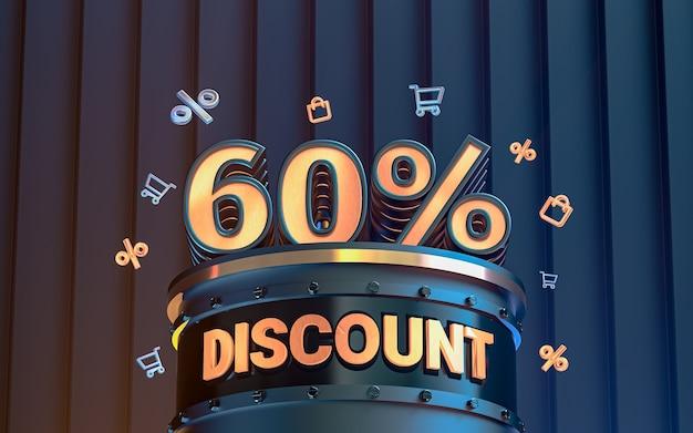 Fond de remise d'offre spéciale de 60 pour cent pour le rendu 3d de l'affiche de promotion des médias sociaux