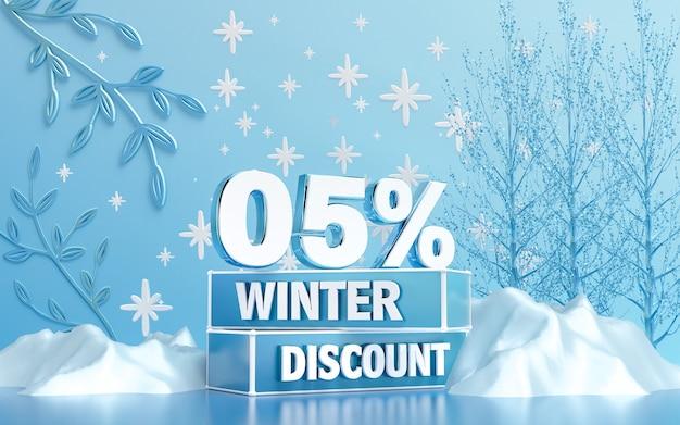 Fond de remise spéciale de la saison d'hiver pour le rendu 3d de la bannière ou de l'affiche des médias sociaux