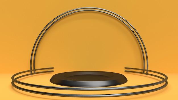 Fond de rendu 3d abstrait géométrique, scène, podium, scène et affichage. thème jaune et noir.