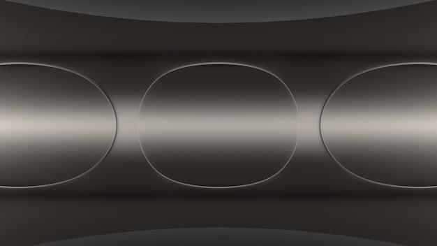 Fond de rendu 3d fond d'écran cercles métalliques étage tunnel lumière profondeur