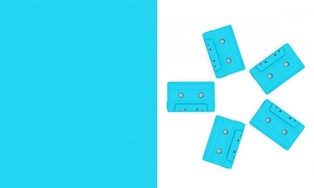 Fond de rendu 3d d'un groupe de cassettes audio vintage