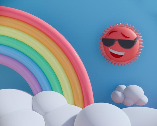 Fond de rendu 3d de soleil et arc-en-ciel cartoon.