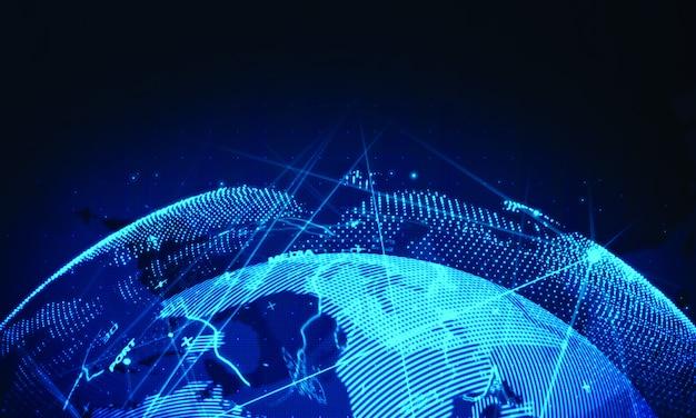 Fond de réseau mondial de cyber. technologie commerciale mondiale