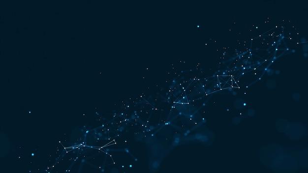 Fond de réseau technologique avec lignes et points en mouvement.