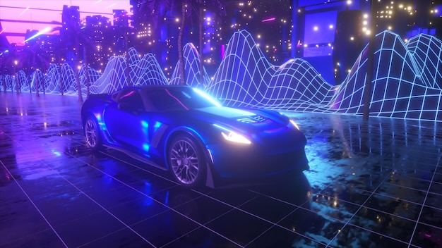 Fond rétro des années 80. voiture futuriste à travers la ville au néon.
