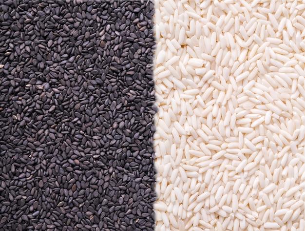 Fond de riz sauvage noir et blanc