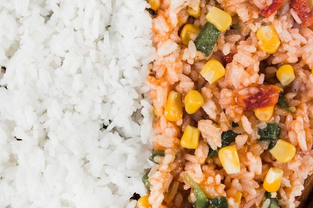 Fond de riz à la vapeur et frit