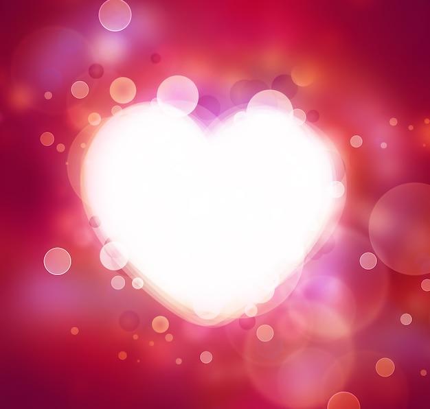 Fond romantique avec coeur brillant