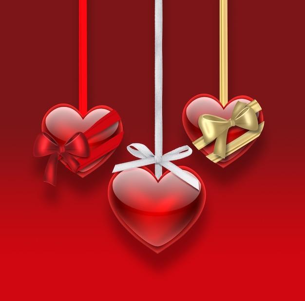 Fond romantique avec des coeurs rouges