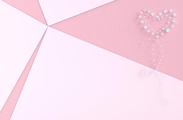 Fond rose d'amour avec diamant, coeur de bijoux. à la saint valentin.