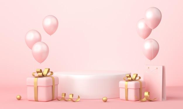 Fond rose, coffrets cadeaux dorés et ballons, espace vide.