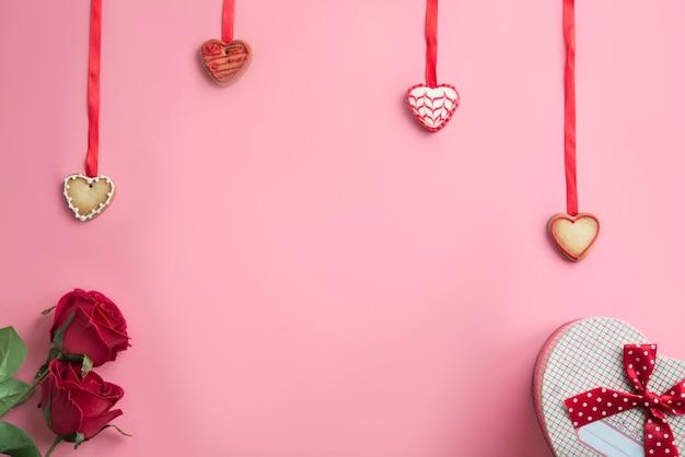 Fond rose avec concept pour la saint valentin