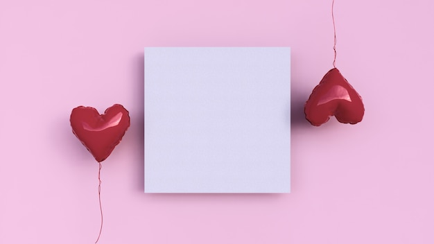 Fond rose avec du papier carré et deux ballons d'amour, saint valentin