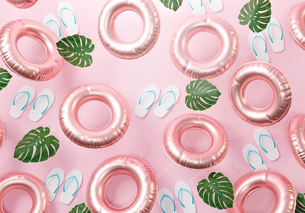 Fond rose d'été. rendu 3d de tongs, feuille et anneau de natation gonflable