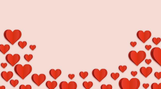 Fond rose pastel avec des coeurs rouges et un espace vide pour le texte