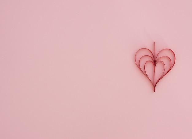 Fond rose de la saint-valentin avec coeur de papier rouge quilling à la main. carte de voeux de la saint-valentin. style plat avec espace de copie. concept d'amour, de bonheur et de mariage.
