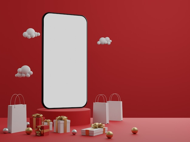 Fond rouge avec mobile écran blanc vide