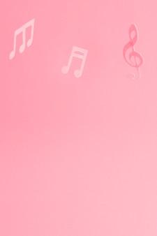 Fond rouge avec des notes de musique