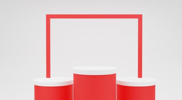 Fond rouge. scène de maquette minimaliste à trois podiums blancs pour produit cosmétique ou autre, rendu 3d