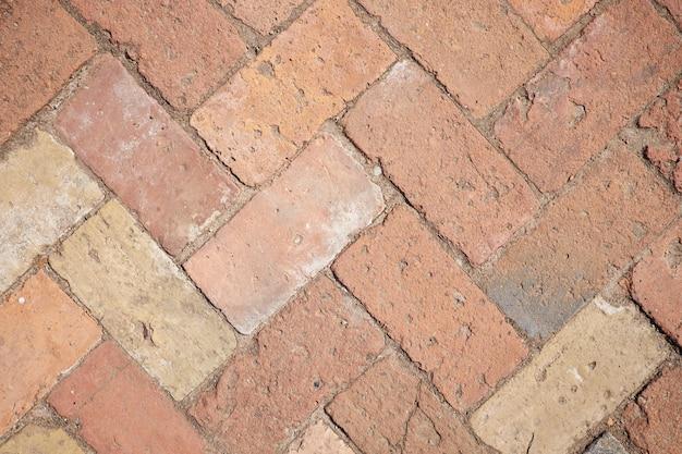 Fond de route de briques d'argile rouge