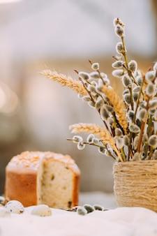Fond rustique de pâques ensoleillé