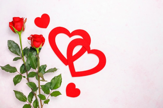 Fond de saint valentin, carte de saint valentin avec des roses