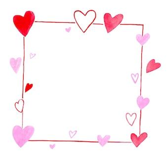 Fond de la saint-valentin avec espace de copie pour le texte, ensemble de peinture aquarelle de fond texturé de forme de coeurs rouges