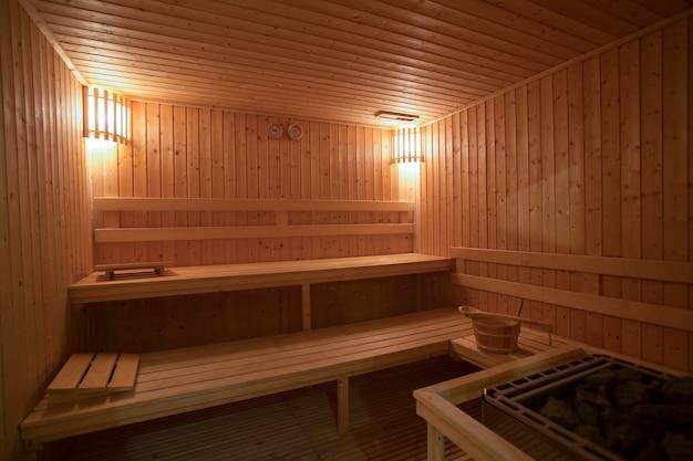 Fond de salle de sauna vide