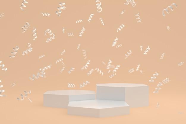 Fond de scène abstrait avec podium blanc sur fond crème, confettis et confettis pour la présentation de produits cosmétiques