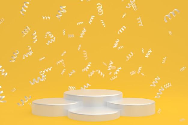 Fond de scène abstrait avec podium blanc sur fond jaune, confettis et confettis pour la présentation de produits cosmétiques