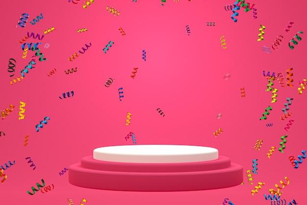 Fond de scène abstrait avec podium blanc sur fond rose, confettis et confettis pour la présentation de produits cosmétiques